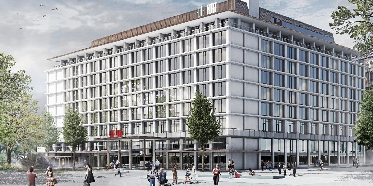 Illustrasjon av fasaden på Hotell Norge i Bergen.