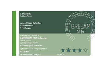 BREEAM-sertifikat for Åsane VGS og kulturhus